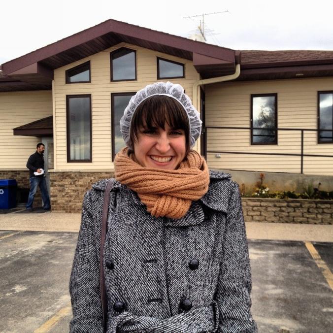 Me, in a hairnet, somewhere in rural Minnesota.