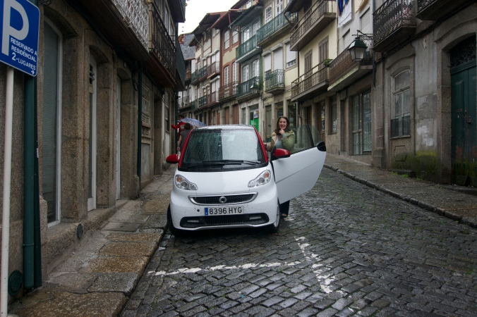 Jamon the Smart car ready to leave rainy Guimaeres, Portugal